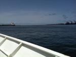 Heading towards the breakwater...
